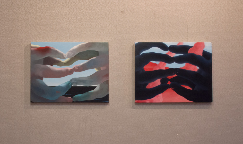 "Jordan Kasey hands diptych  21"" x 26"", 21"" x 26"" oil on canvas"