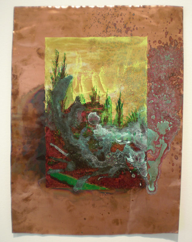 acrylic print on copper, washed with acid, prints on metal