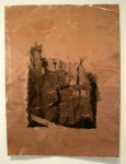 acrylic print on copper, washed with water, prints on metal
