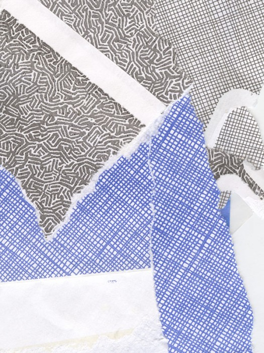 blue, black and white envelope collage snail mail security