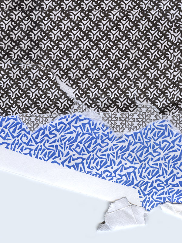 blue, grey, black and white envelope collage snail mail security